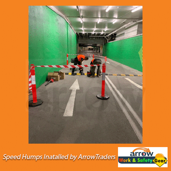 Speed Humps Installed by Arrow Work and Safety Gear
