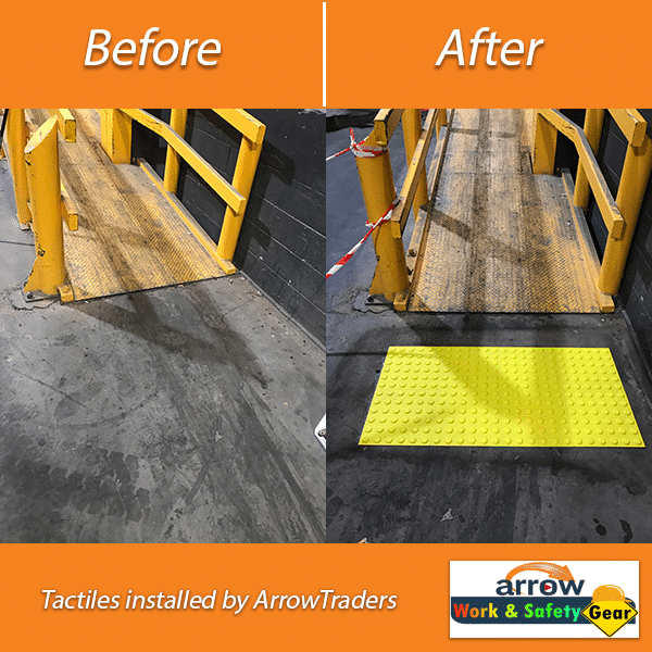 Tactiles Installed by Arrow Work and Safety Gear