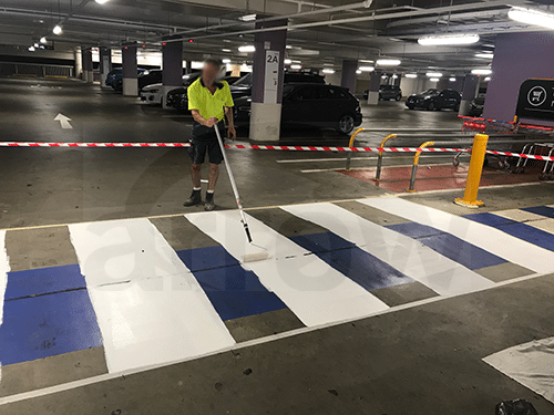 Arrow Safety Car Park Pedestrian Crossing Painting Task