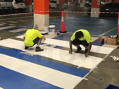 Car Park Pedestrian Crossing Painting Task